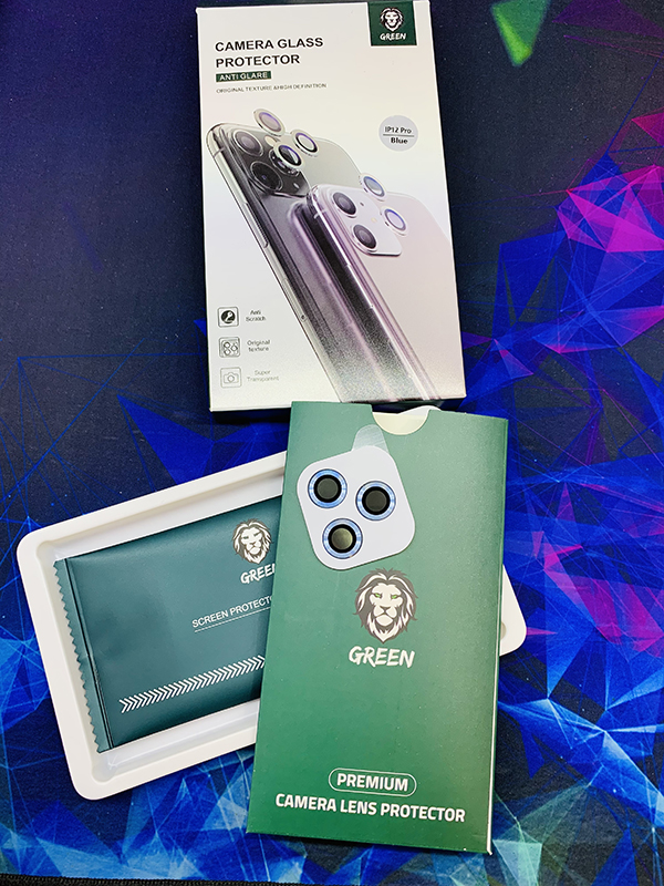 محافظ لنز دوربین سه تکه آیفون 12 green protector camera glass antiglare