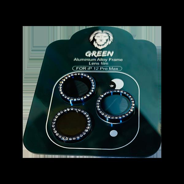 محافظ لنز دوربین تکی نگین دار گرین مناسب آیفون سری 12 رنگ آبی